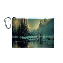 Yosemite Park Landscape Sunrise Canvas Cosmetic Bag (m)