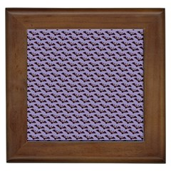 Bat Halloween Lilac Paper Pattern Framed Tiles