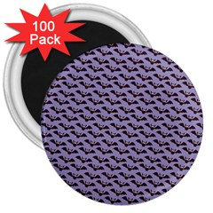 Bat Halloween Lilac Paper Pattern 3  Magnets (100 Pack)