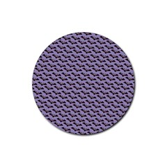 Bat Halloween Lilac Paper Pattern Rubber Round Coaster (4 Pack)