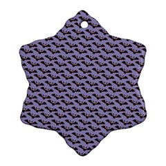 Bat Halloween Lilac Paper Pattern Snowflake Ornament (two Sides)