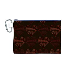 Heart Seamless Background Figure Canvas Cosmetic Bag (m)