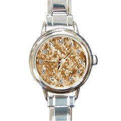 Texture Background Backdrop Brown Round Italian Charm Watch