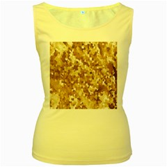 Texture Background Backdrop Brown Women s Yellow Tank Top