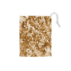 Texture Background Backdrop Brown Drawstring Pouches (small)