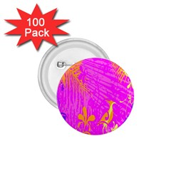 Spring Tropical Floral Palm Bird 1 75  Buttons (100 Pack)
