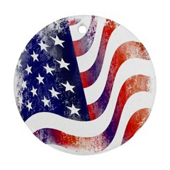 Usa Flag America American Round Ornament (two Sides)
