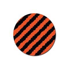 Black Orange Pattern Rubber Coaster (round)