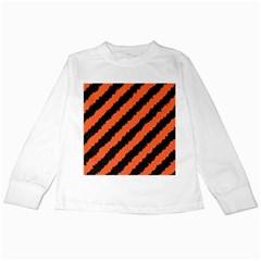 Black Orange Pattern Kids Long Sleeve T Shirts