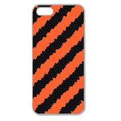 Black Orange Pattern Apple Seamless Iphone 5 Case (clear)