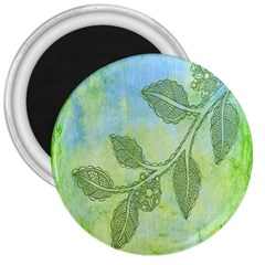 Green Leaves Background Scrapbook 3  Magnets