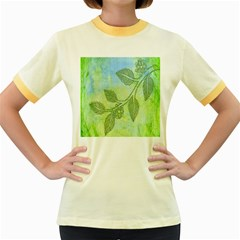 Green Leaves Background Scrapbook Women s Fitted Ringer T Shirts