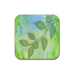 Green Leaves Background Scrapbook Rubber Square Coaster (4 Pack)