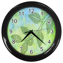 Green Leaves Background Scrapbook Wall Clocks (black)