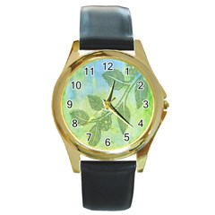 Green Leaves Background Scrapbook Round Gold Metal Watch