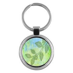 Green Leaves Background Scrapbook Key Chains (round)