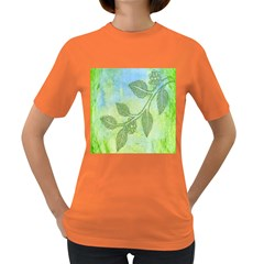 Green Leaves Background Scrapbook Women s Dark T Shirt