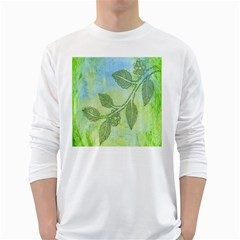 Green Leaves Background Scrapbook White Long Sleeve T Shirts