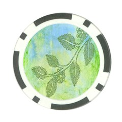 Green Leaves Background Scrapbook Poker Chip Card Guard (10 Pack)