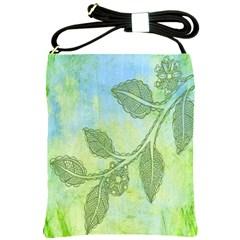 Green Leaves Background Scrapbook Shoulder Sling Bags