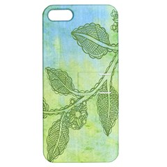 Green Leaves Background Scrapbook Apple Iphone 5 Hardshell Case With Stand
