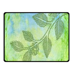Green Leaves Background Scrapbook Double Sided Fleece Blanket (small)