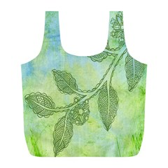 Green Leaves Background Scrapbook Full Print Recycle Bags (l)