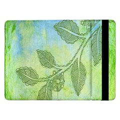 Green Leaves Background Scrapbook Samsung Galaxy Tab Pro 12 2  Flip Case