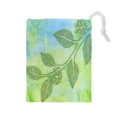 Green Leaves Background Scrapbook Drawstring Pouches (large)
