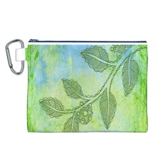Green Leaves Background Scrapbook Canvas Cosmetic Bag (l)