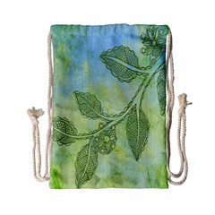 Green Leaves Background Scrapbook Drawstring Bag (small)