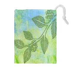 Green Leaves Background Scrapbook Drawstring Pouches (extra Large)