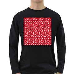 Red Christmas Pattern Long Sleeve Dark T Shirts