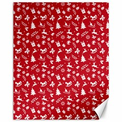 Red Christmas Pattern Canvas 11  X 14