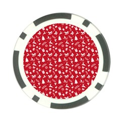 Red Christmas Pattern Poker Chip Card Guard (10 Pack)