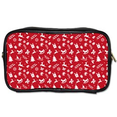 Red Christmas Pattern Toiletries Bags