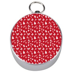 Red Christmas Pattern Silver Compasses