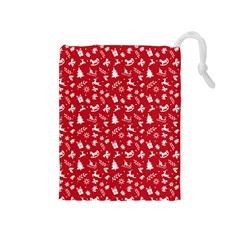 Red Christmas Pattern Drawstring Pouches (medium)