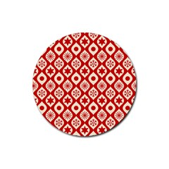 Ornate Christmas Decor Pattern Rubber Round Coaster (4 Pack)