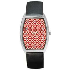 Ornate Christmas Decor Pattern Barrel Style Metal Watch