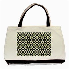 Green Ornate Christmas Pattern Basic Tote Bag