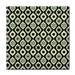 Green Ornate Christmas Pattern Face Towel