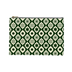 Green Ornate Christmas Pattern Cosmetic Bag (large)