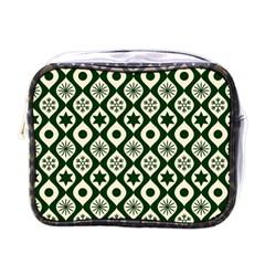 Green Ornate Christmas Pattern Mini Toiletries Bags