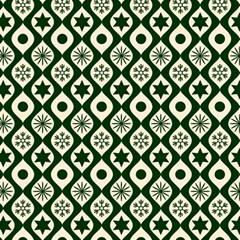 Green Ornate Christmas Pattern Magic Photo Cubes