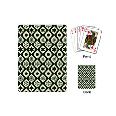 Green Ornate Christmas Pattern Playing Cards (mini)