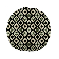 Green Ornate Christmas Pattern Standard 15  Premium Round Cushions