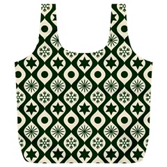 Green Ornate Christmas Pattern Full Print Recycle Bags (l)
