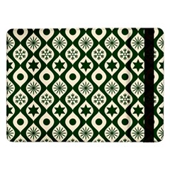Green Ornate Christmas Pattern Samsung Galaxy Tab Pro 12 2  Flip Case
