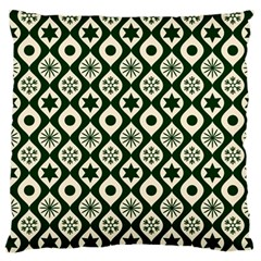 Green Ornate Christmas Pattern Standard Flano Cushion Case (two Sides)